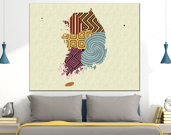 South Korea Map Art Print Poster, Seoul Asia Painting Gift
