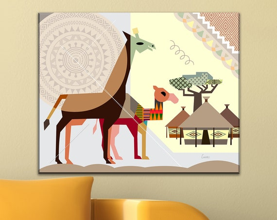 African Village Art, Safari Animal Print Black American