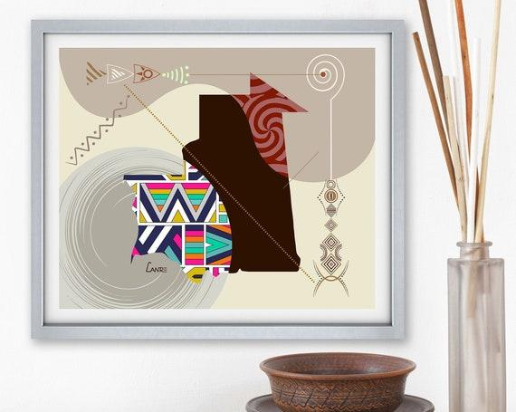 Mauritania Map Art,  Nouakchott North West African Design Poster