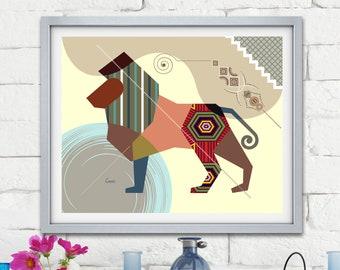 Leo Zodiac Art Poster, Constellation Astrology Star