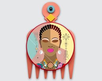 Black Woman Painting, African Girl Art Natural Hair Adinkra DUAFE