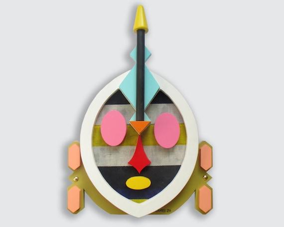 Original African Painting, Wooden Mask Modern Cubist Afrocentric Art