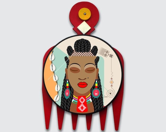 Black Girl Art, DUAFE Natural Hair African Woman Painting