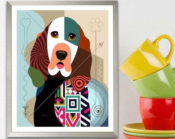 Bloodhound Dog Art Print, Puppy Portrait  Pet Lover Decor