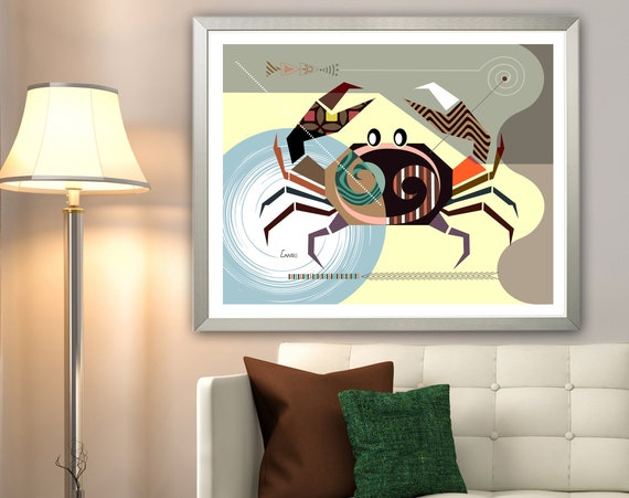 Cancer Zodiac Art, Star Sign Poster, Horoscope Gift, Crab Decor