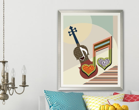 Violin Art  Music Decor, Music Teachers Gift Painting