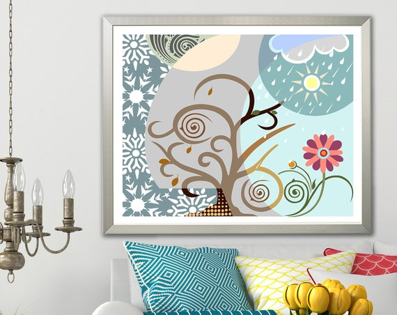 Four Seasons Art Print, Abstract Tree Of Life Poster Painting