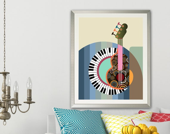 Piano Art Print Guitar Painting, Music Teacher Gift
