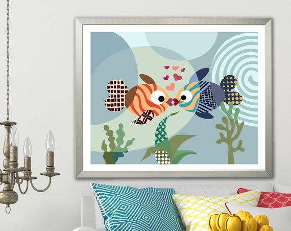 Kissing Fish Art, Marine Life Decor Love Art Print Girls Room Poster