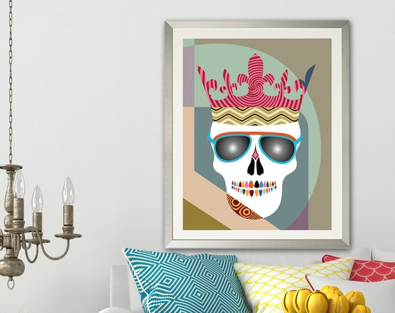 Skull Crown Wall Art Print Painting, Halloween Skeleton Decor
