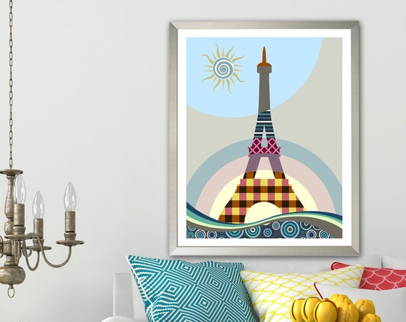 Eiffel Tower Art Print, Paris Poster Architecture Gift Abstract Home Decor