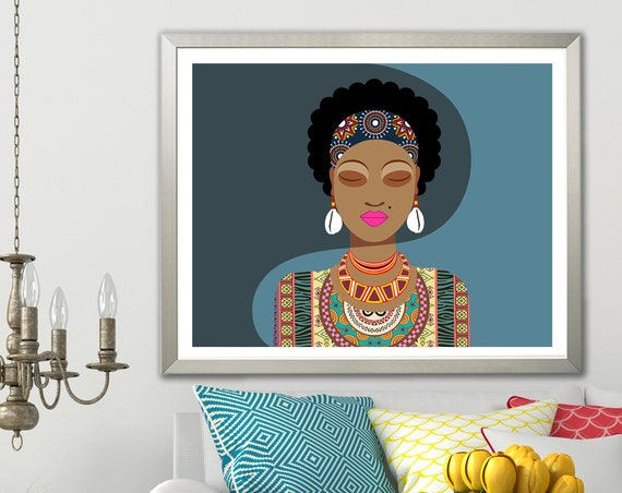 African Woman Afro Girl Picture, Black Queen Painting Wall Art Decor