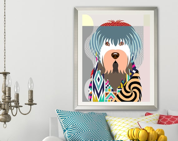 Old English Sheepdog Print, Dog Pop Art