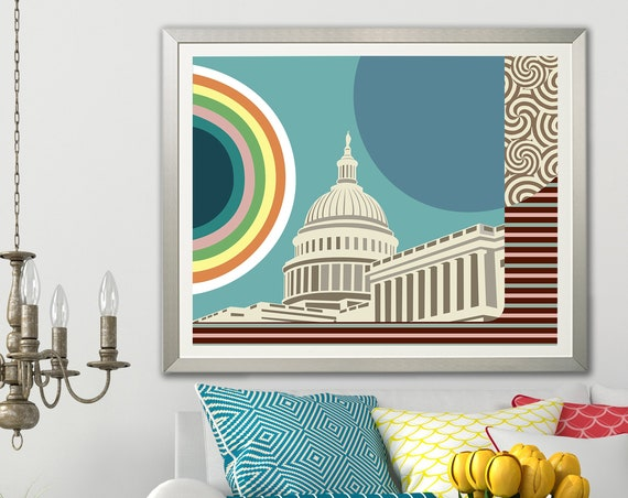 Capitol Building Painting, DC Skyline