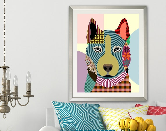 Siberian Husky Art Print, Pop Art Dog Portrait
