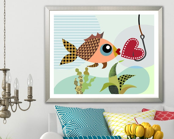 Love Fish Nautical Art, Valentine Print Gift For Her