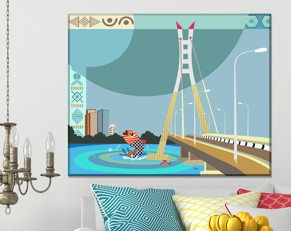 Lekki Ikoyi Bridge, Lagos Nigeria Art Painting Gift Home Decor