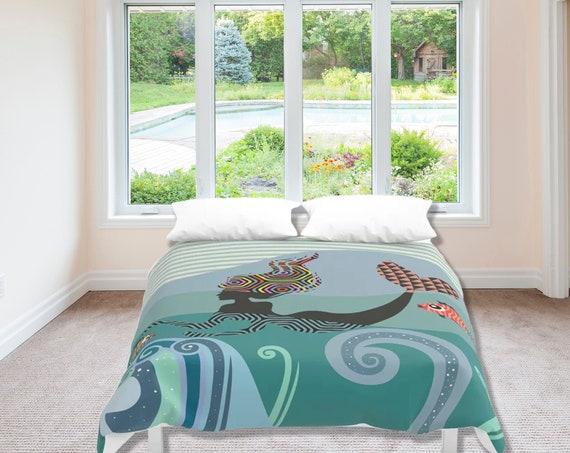 Mermaid Duvet Cover, Girly Bedding Gift For Her