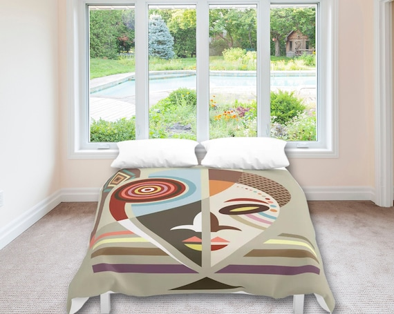 African Bedding, Afrocentric Mask Duvet Cover