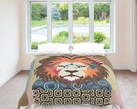 Lion Bedding, Big Cat Print Duvet Cover Queen King Full