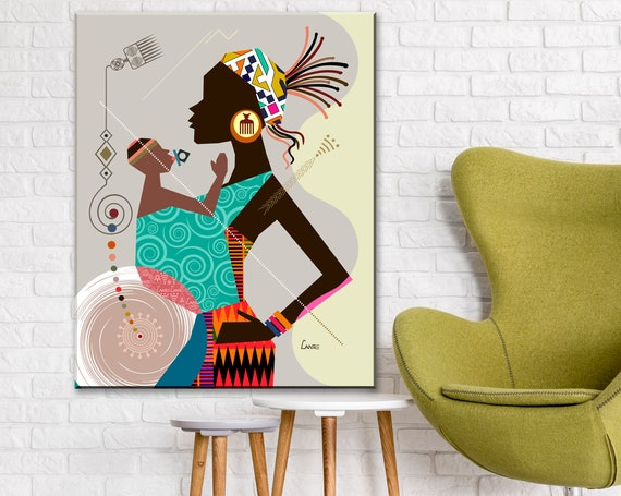 Mother and Child Art, Black Woman Poster Mums Birthday Gift