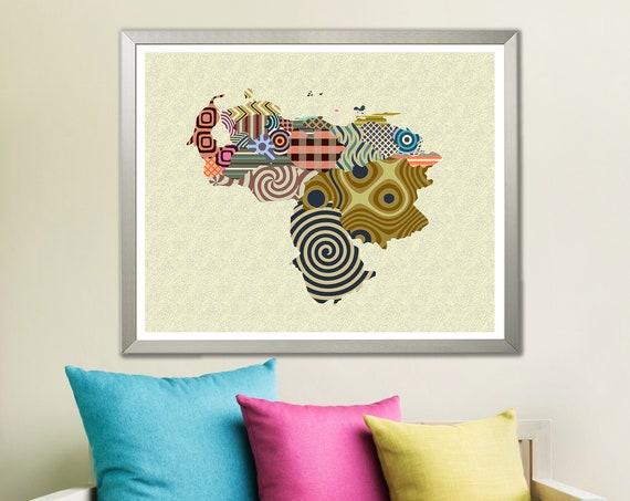 Venezuela Map Art Print Decor, Caracas South America Gift