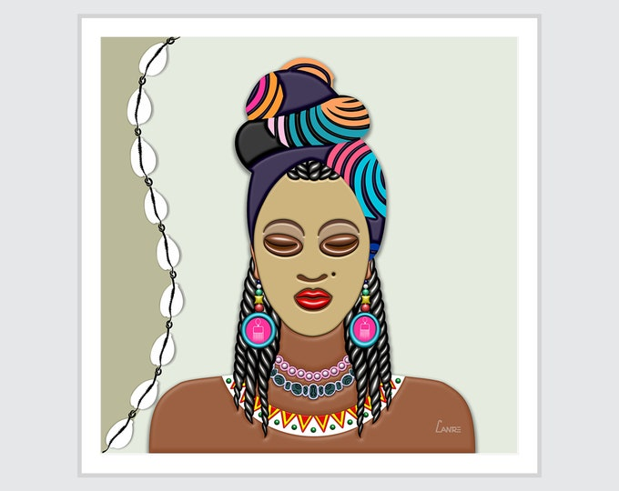 Black Woman Artwork, African American Girl Painting, Afrocentric  Head Wrap Décor