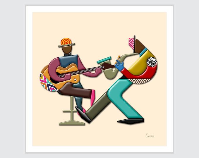 Jazz Art Music Décor, African American DJ Print Saxophone Guitar Lover Gift, Cubist Painting
