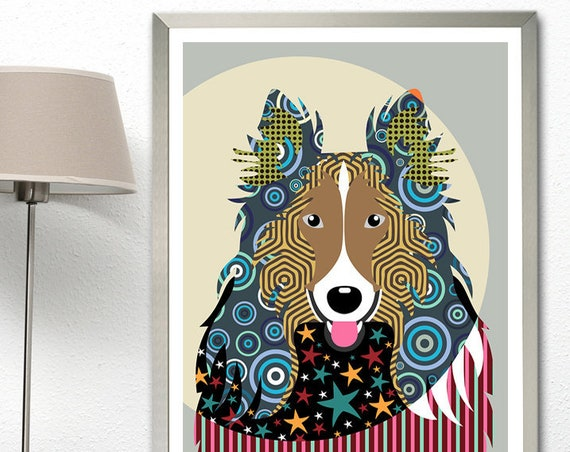 Rough Collie Wall Art Gift, Dog Pop Art Print