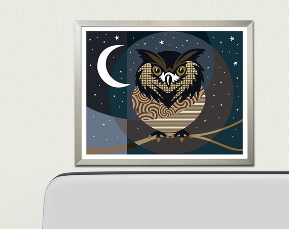 Owl Art Print Decor Gift, Bird Lover Gift