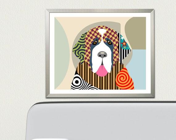 Saint Bernard Wall Art Gift, Dog Portrait Print