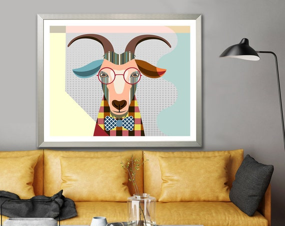 Goat Art Print Animal Poster, Farm House Wall Decor Painting