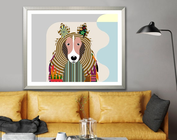 Sheltie Dog Art Print, Shetland Sheepdog Poster Decor