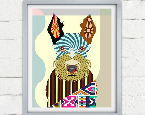Scottish Terrier Art Print, Scottie Dog Wall Art Decor