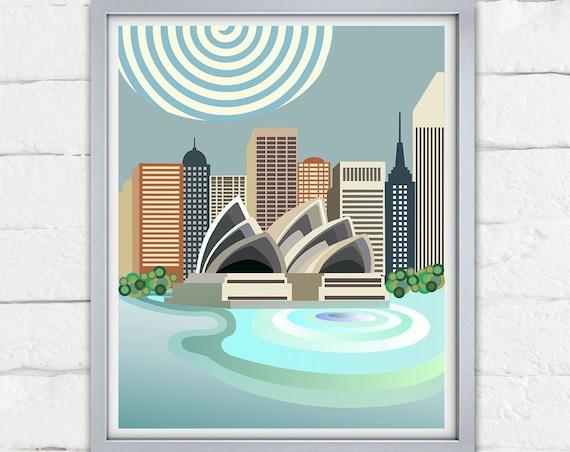 Sydney Opera House Print Skyline, Australia Travel Poster Decor