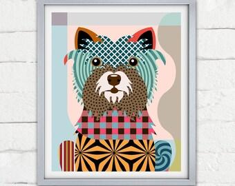 Cairn Terrier Art, Colorful Dog Print Pet Portrait