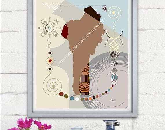 Benin Map Art Print Wall Decor, Porto-Novo West African Poster