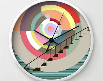 Colorful Wall Clock, Abstract Geometric Decor Art Print