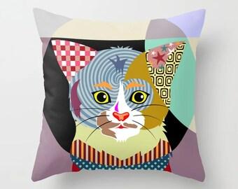 Cat Throw Pillow, Kitten Cushion Pet Decor