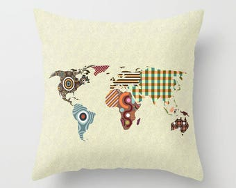 World globe pillow etsy world map throw pillow world map pillow world globe map pillow world map decor world map print world map gift world map accessories gumiabroncs Choice Image
