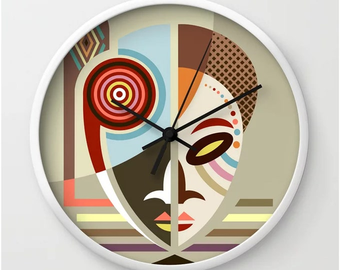 Featured listing image: African Clock, Ethnic Mask Wall Decor