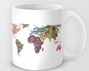 World Map Ceramic Mug, Printed Coffee Cup