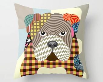 English Bulldog Pillow, British Doggy Pet Portrait