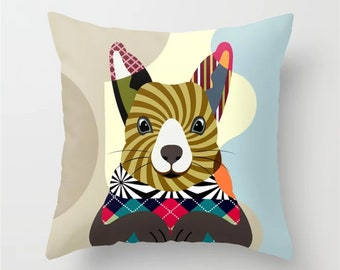 Squirrel Pillow Animal Decor, Kids Cushion