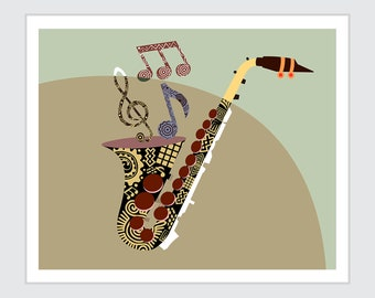 Saxophone Music Art Print Poster, Musical Notes painting