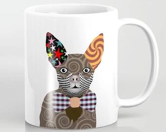 Chihuahua Mug, Dog Pop Art Ceramic Cup Pet Portrait