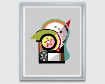 Bauhaus Abstract Cubist Painting, Geometric Poster