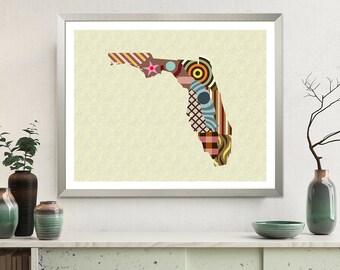 Florida State Map Art Poster, USA Gift Decor Print