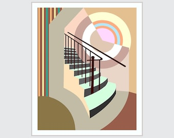 Stairway Wall Art Decor, Staircase Photo Geometric Poster