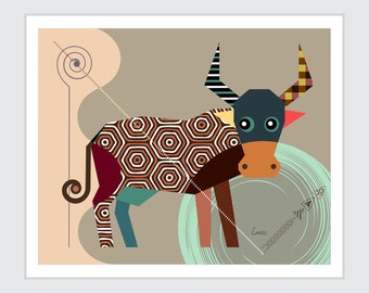 Taurus Zodiac Art,  Star Sign Poster, Horoscope Gift Bull Head